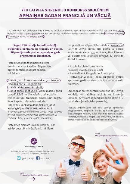 YFU stipendiju konkurss 2015 konkursa noteikumi